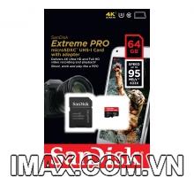 Thẻ nhớ Micro SDXC Sandisk Extreme Pro 64GB  Class 10, UHS-I, 95MB/s, quay 4K thô