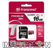 Thẻ nhớ Transcend Micro SDHC 16GB Class 10, UHS-I, 45MB/s