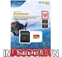 Sandisk Micro SDHC 32GB Extreme, Class 10, U3 90/60MB/s, quay 4K thô