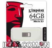 Kingston 64GB DTMicro USB 3.1, nguyên khối, không nắp