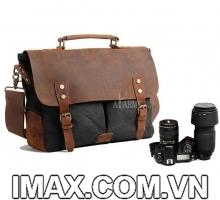 Túi máy ảnh Akrmy, 1 body, 2-3 lens, Túi vải và Da thật