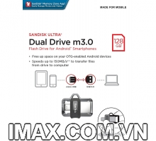 USB SanDisk Ultra 128GB Dual Drive m3.0 for Android Devices and Computers (SDDD3-128G-G46)
