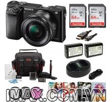Combo 1 Máy ảnh Sony Alpha a6000 + lens 16-50 mm + 2 thẻ nhớ 64gb + 2 pin 1 sạc đôi + bộ phụ kiện.