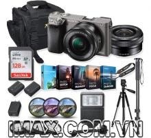 Combo 4 Máy ảnh Sony Alpha A6000 + lens 16-50mm + 1 thẻ nhớ 128gb + đèn flash + chân máy + 1 pin + Filter + bộ phụ kiện.