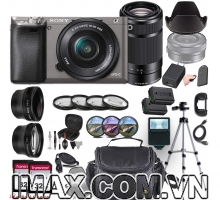 Combo 5 Máy ảnh Sony Alpha A6000 + lens 16-50mm + lens 55-210 mm + đèn flash + chân máy + pin + Filter + bộ phụ kiện.