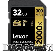 Lexar SDHC 32GB UHS-II, 2000X-300MB/s, Kèm Đầu đọc thẻ UHS-II