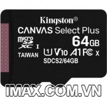 Thẻ nhớ Kingston Micro SDXC 64GB 100MB/s Canvas Select Plus  C10 U1 A1