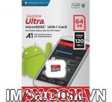 Thẻ nhớ MicroSD 64GB Sandisk Ultra A1 120 MB/s (Bản mới nhất)