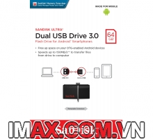 Sandisk OTG 3.0 64GB Ultra Dual USB 3.0 For Smart Phone & Tablet Android