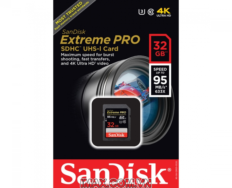 Thẻ nhớ SanDisk SDHC Extreme Pro 32Gb 95/90m/s U3 1