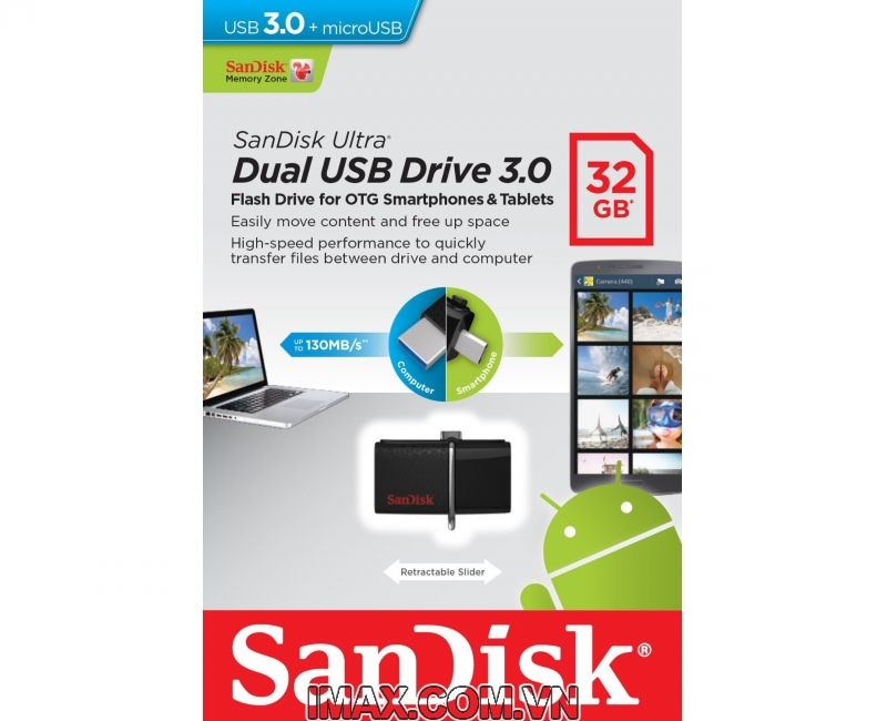 Sandisk OTG 3.0 32GB Ultra Dual USB 3.0 For Smart Phone & Tablet Android 1