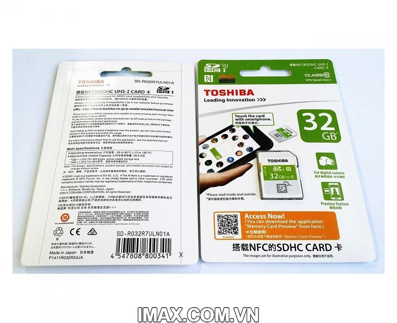 Thẻ nhớ SDHC Toshiba NFC 32GB Class 10 UHS-I 2