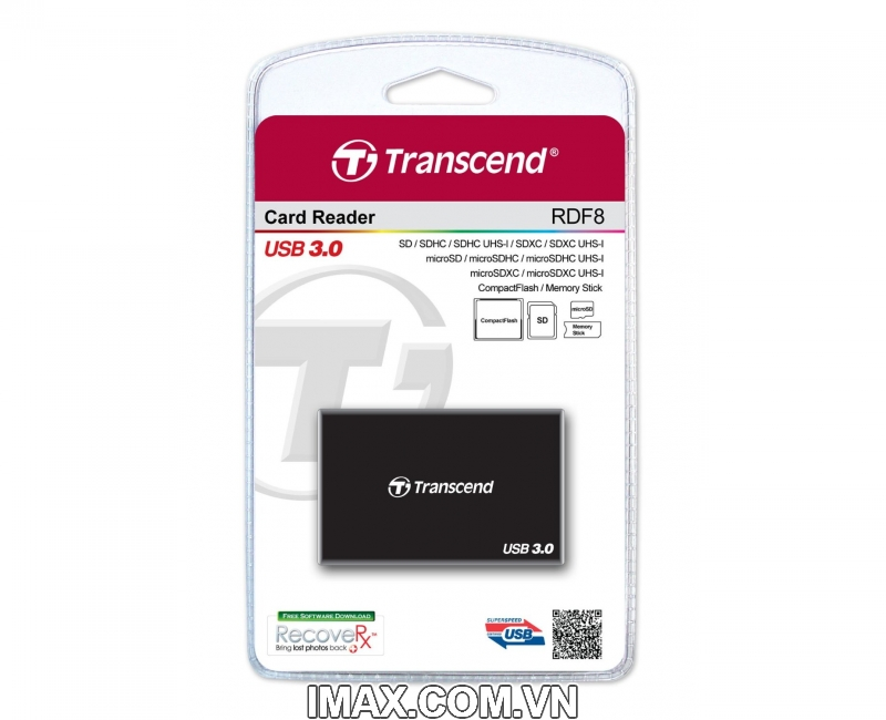 Đầu đọc thẻ All in One Transcend USB 3.0 Super Speed Multi-Card Reader for SD/SDHC/SDXC/MS/CF Cards (TS-RDF8W) 2