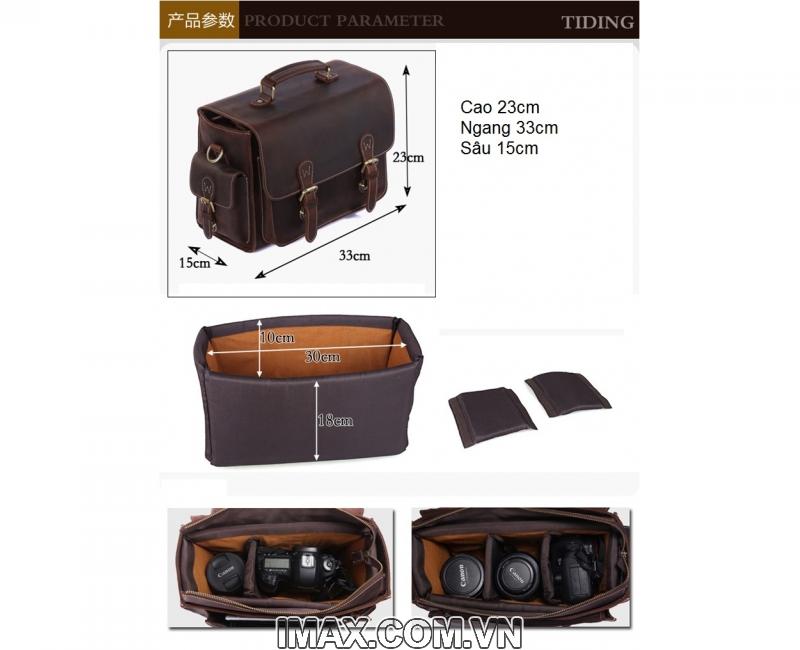 Túi máy ảnh da thật DT01 - 1 body, 2 lens 5