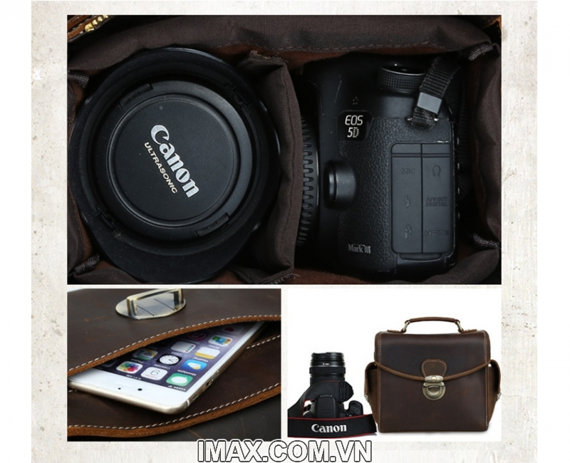 Túi máy ảnh da thật DT02, 1 body, 1 len 5