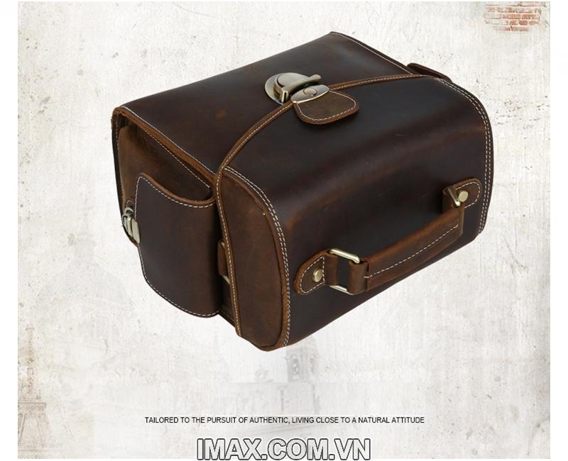 Túi máy ảnh da thật DT02, 1 body, 1 len 9