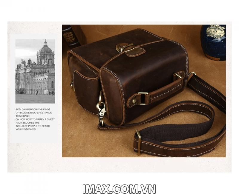 Túi máy ảnh da thật DT02, 1 body, 1 len 17