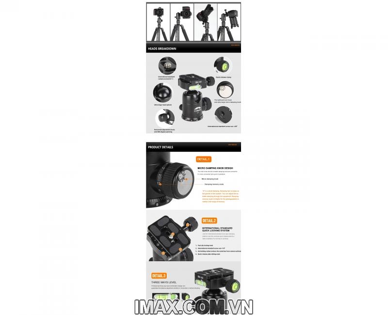 Chân máy ảnh/ Tripod Coman TM256ACO 3