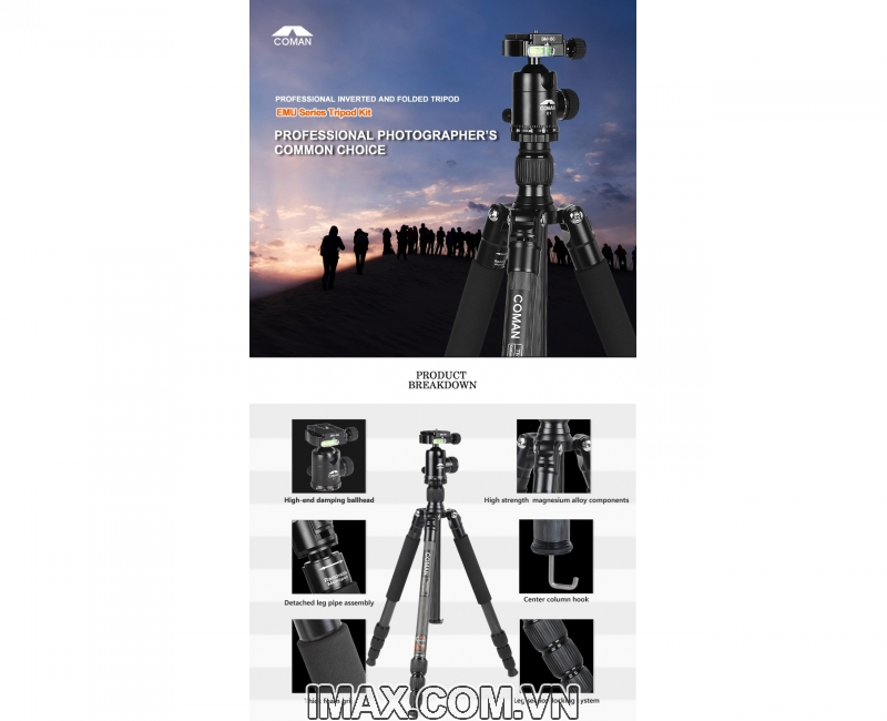 Chân máy ảnh Coman TM226CC0, Carbon 3