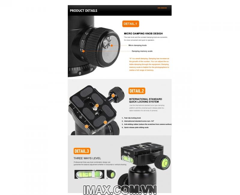 Chân máy ảnh Coman TM226CC0, Carbon 5