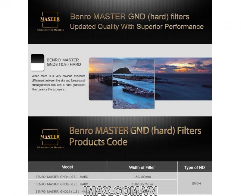 KINH LỌC FILTER VUÔNG BENRO MASTER GND8(0.9) HARD 170MM 2