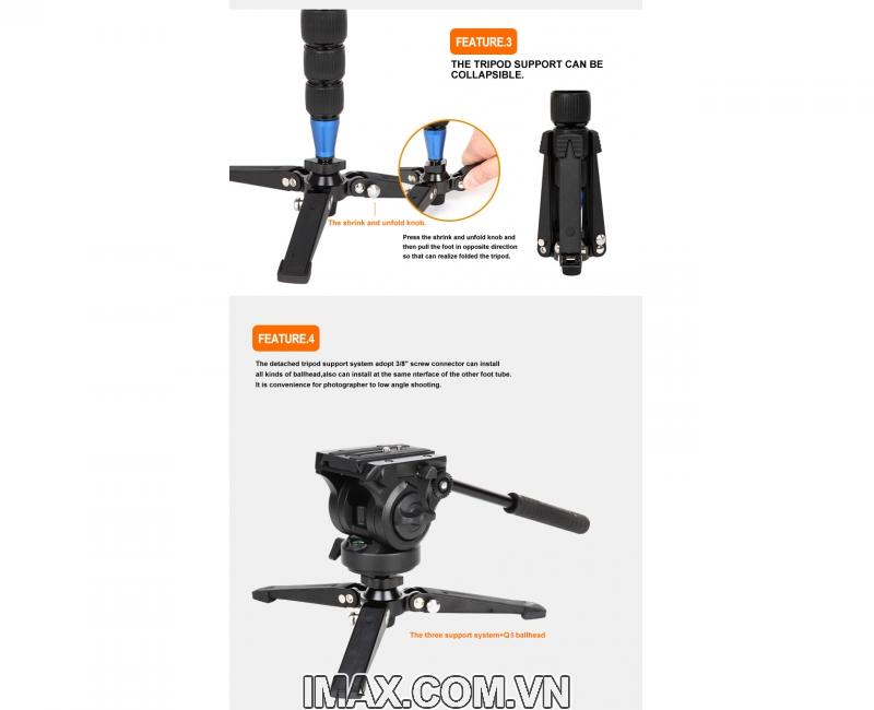 Chân máy ảnh Monopod Coman DX327CQ5 10