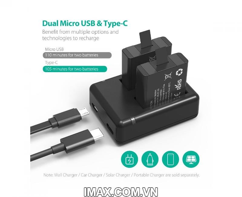 Bộ 2 pin 1 sạc đôi RavPower PR-PB074 cho Gopro 5,6,Hero 1