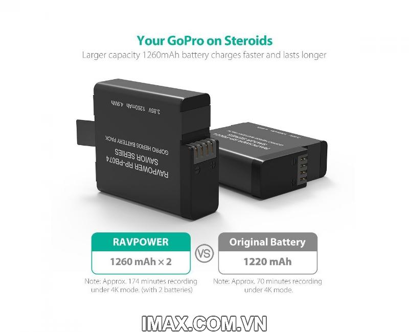 Bộ 2 pin 1 sạc đôi RavPower PR-PB074 cho Gopro 5,6,Hero 2