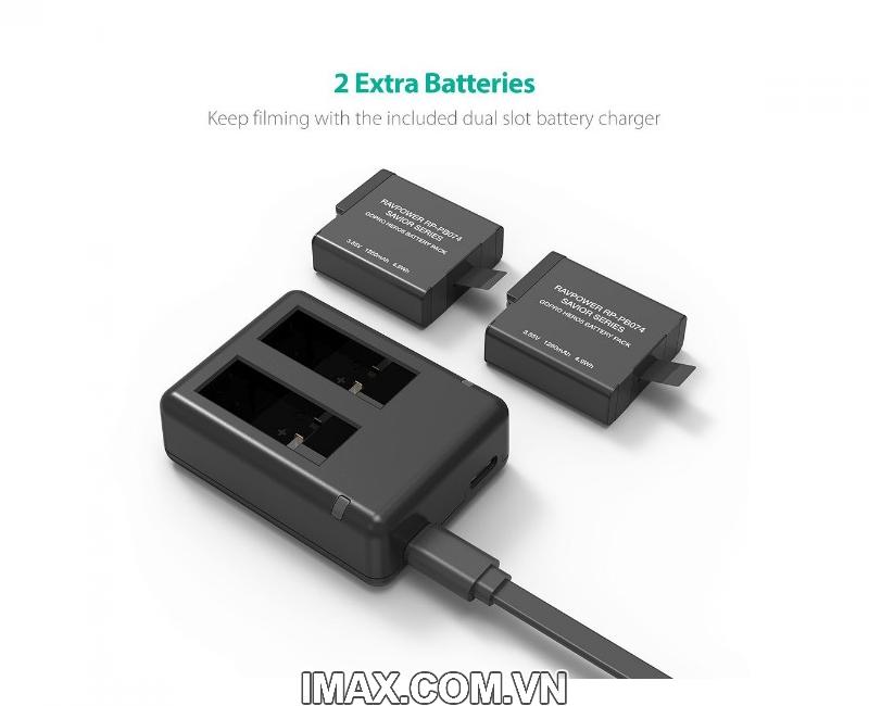 Bộ 2 pin 1 sạc đôi RavPower PR-PB074 cho Gopro 5,6,Hero 4
