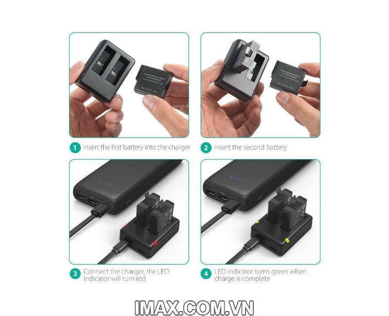 Bộ 2 pin 1 sạc đôi RavPower PR-PB074 cho Gopro 5,6,Hero 5