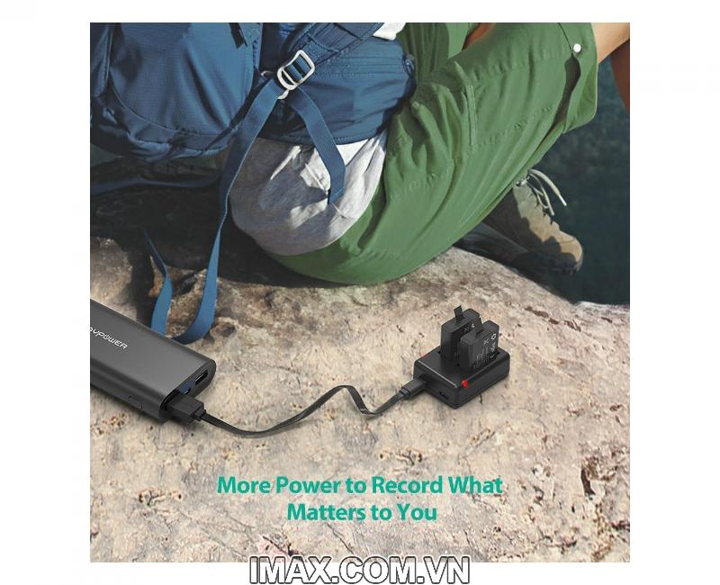 Bộ 2 pin 1 sạc đôi RavPower PR-PB074 cho Gopro 5,6,Hero 6