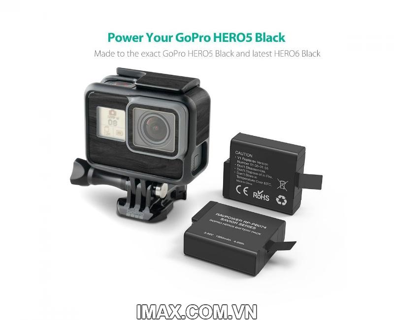 Combo 2 pin 1 sạc Rav Power Gopro Hero, Gopro 5 Black, Gopro Hero 6 Black, Gopro Hero 7 3