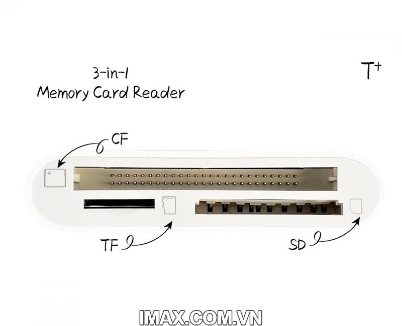 Đầu đọc thẻ 3 in 1 TF, SD, CF Type C cho Mac, Điện thoại 1