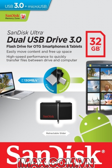 Sandisk OTG 3.0 32GB Ultra Dual USB 3.0 For Smart Phone & Tablet Android
