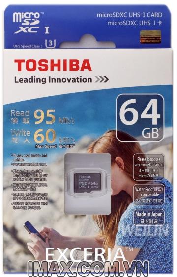 Thẻ nhớ Micro SDXC Toshiba 64GB UHS-I, U3, 95/60MB/s