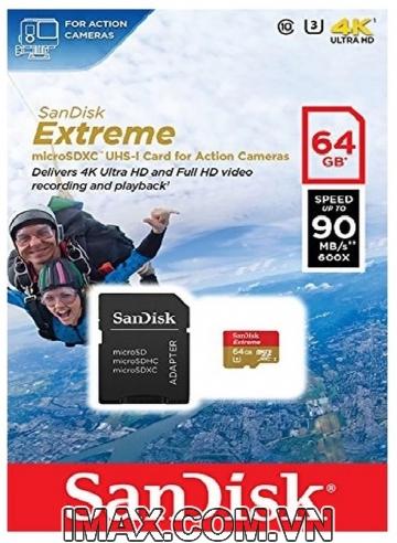 Sandisk Micro SDXC 64GB Extreme, Class 10, U3 90MB/s, quay 4K thô