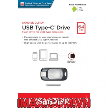 USB 3.1 SanDisk 64GB Ultra USB Type-C Flash Drive SDCZ450-064G-Q46