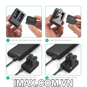 Combo 2 pin 1 sạc Rav Power Gopro Hero, Gopro 5 Black, Gopro Hero 6 Black, Gopro Hero 7