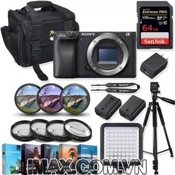 Combo 3 Body Máy ảnh Sony Alpha a6000 + 1 thẻ nhớ etreme pro 64gb + đèn led + chân máy + 1 pin + Finter màu