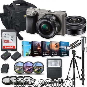 Combo 4 Máy ảnh Sony Alpha A6000 + lens 16-50mm + 1 thẻ nhớ 128gb + đèn flash + chân máy + 1 pin + Finter + bộ phụ kiện.