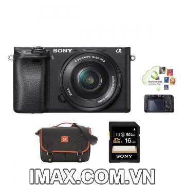 Máy ảnh Sony Alpha a6000 + lens 16-50 mm + thẻ nhớ 16gb + Túi đeo chéo