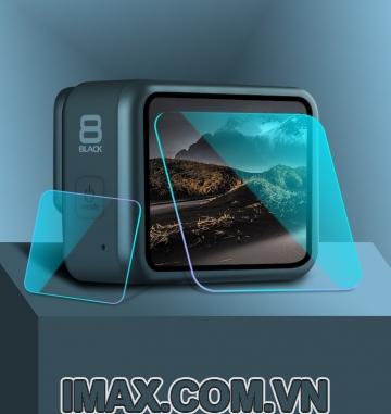 Tấm dán cường lực Gopro Hero 8 Black: Dàn màn hình+ống kính
