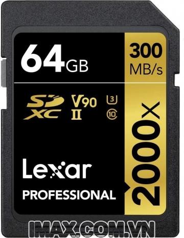 Lexar SDXC 64GB UHS-II, 2000X-300MB/s, Kèm Đầu đọc thẻ UHS-II