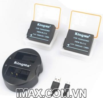 Bộ 2 pin 1 sạc đôi Kingma cho Panasonic DMW-BLC12