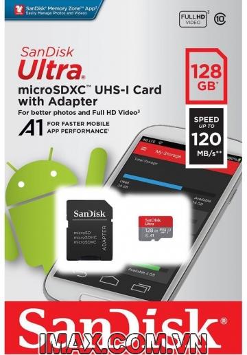 Thẻ nhớ MicroSD 128GB Sandisk Ultra A1 120 MB/s (Bản mới nhất)