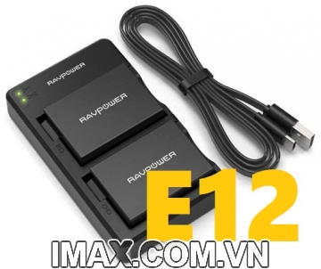 Bộ 2 pin 1 sạc đôi RavPower for Canon LP-E12