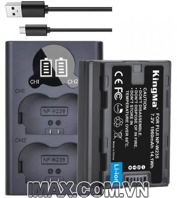 Bộ 1 pin và 1 sạc đôi Kingma cho Fujifilm NP-W235, sạc có vạch hiển thị