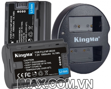 Bộ 2 pin và 1 sạc máy ảnh Kingma cho Fujifilm NP-W235, sạc có đèn báo