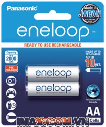 Pin sạc Panasonic Eneloop AA BK-3MCCE/2BT 2000mAh, Hàng chính hãng